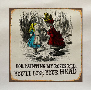 Alice Wonderland Red Queen Fabric Cotton Panel Make A Cushion Upholstery Craft