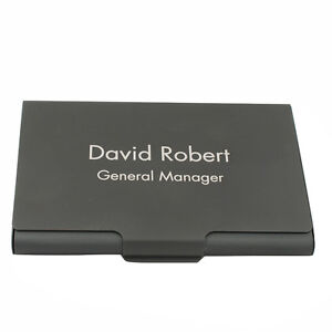 Personalized engraved business card holder case black for Personalized business card holder for men