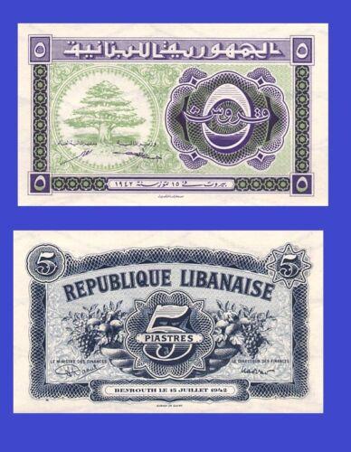 Reproduction LEBANON LIBAN 5 piastre 1942 UNC