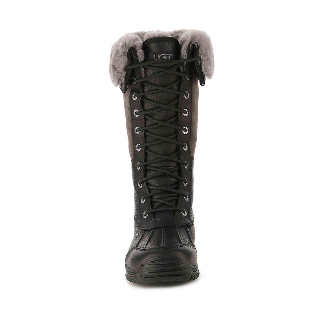 Ugg Adirondack Tall Black Gray Winter Snow Boots Womens