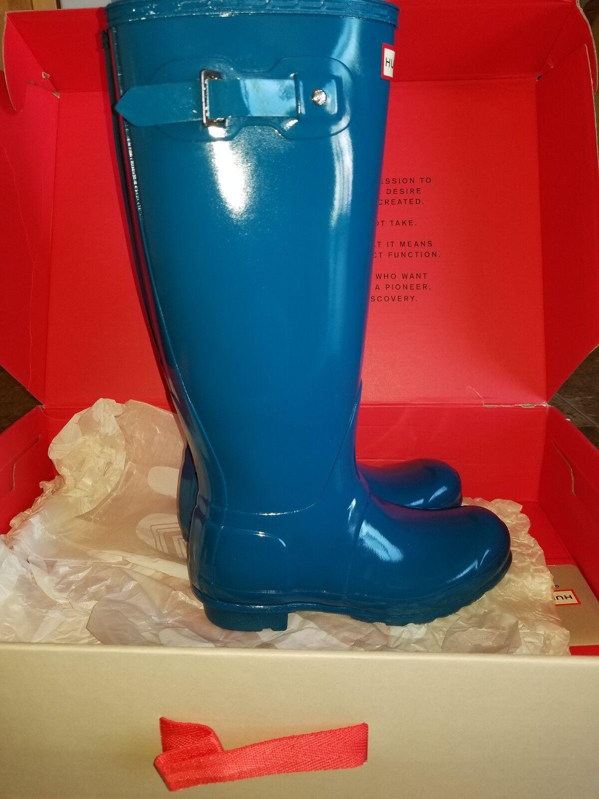 NIB New Donna Hunter Rain Gloss Boots Galosh High Gloss Rain Blue 6 7 8 10 b44720