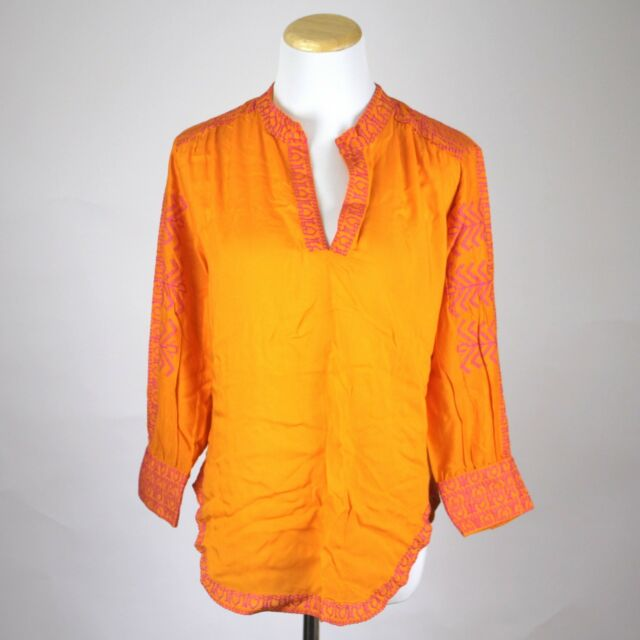 Gretchen Scott Orange And Pink Cotton Embroidered Tunic Size Small S Blouse