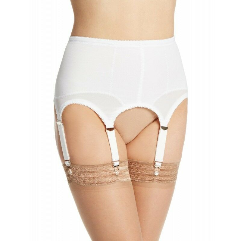 Rago Foundations Shapewear Open 6 Strap White Garter Belt Regular Size 28 Med