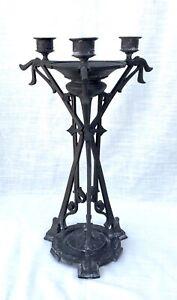 Antik/Vintage Bronze Metall Jugendstil/Art Deco 3 Kerzenhalter - 15 Zoll