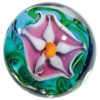22mm Stargazer Lily Flower Handmade Art Glass Pink Blue Marble Ball 7/8 Shooter
