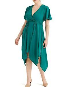 Adrianna-Papell-Side-Tie-Green-Surplice-Georgette-Dress-Size-18W