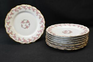 Limoges-Elite-Bawo-amp-Dotter-Bridal-Wreath-Set-of-8-Luncheon-Plates