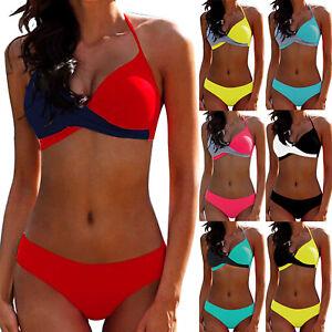 cc11392e77e1d Damen Neckholder BH Bikini Set Push Up Sexy Brasilianisch Badeanzug ...