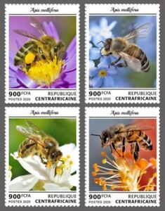 Central Africa - 2020 Western Honey Bees - 4 Stamp Set - CA200115c
