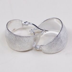 0-75-Italy-Modern-925-Sterling-Silver-Hoop-Pierced-Earrings-huggie-Matt-Surf
