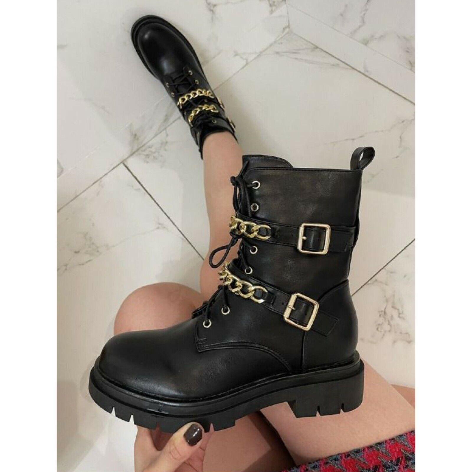 Ladies Women's Block Heel Platform Round Toe Chain Buckle Black Ankle Boots