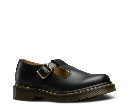Dr Martens Polley Black Smooth Leather Mary Jane T-Bar Buckle Shoes UK 4-8