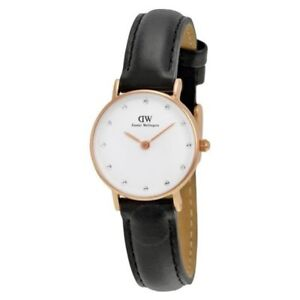 Daniel-Wellington-Women-039-s-0901DW-Sheffield-Rose-Gold-Black-Leather-Ladies-Watch