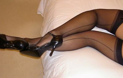 Vintage Look! Black Stockings w/Sexy Back Seams for Garters PLUS 1X 2X 3X