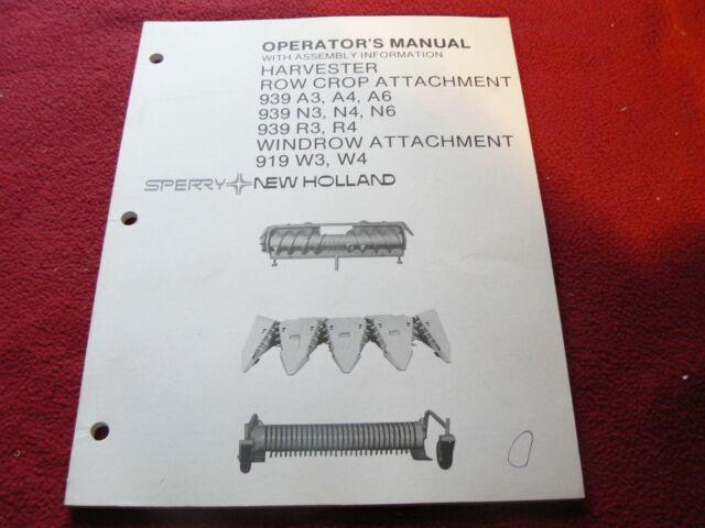 New Holland 939 919 corn forage head attachments Operators Manual