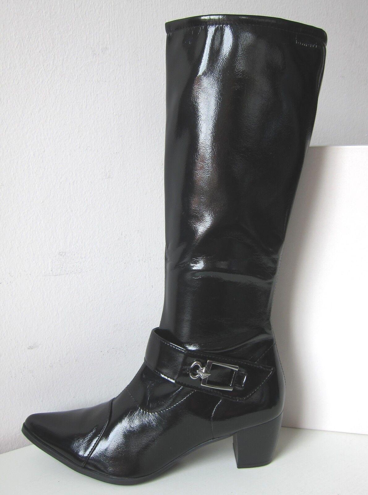 Tamaris botas botas de charol vastas XS-S negro Gr. 36 Boots patente pintura de Black