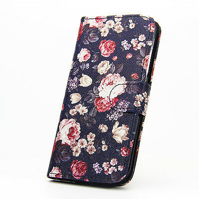 New Floral Paint Magnetic Leather Stand Wallet Flip Case Cover For Various Phone