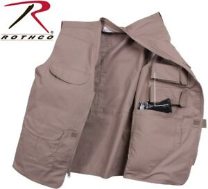 Concealed Carry Vest Khaki Multi-Pocket With Gun & Mag Pouchs Rothco 86700