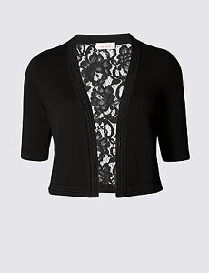 New-M-amp-S-Per-Una-Black-Floral-Lace-Back-Cardigan-Sz-UK-10-12-16-18-24