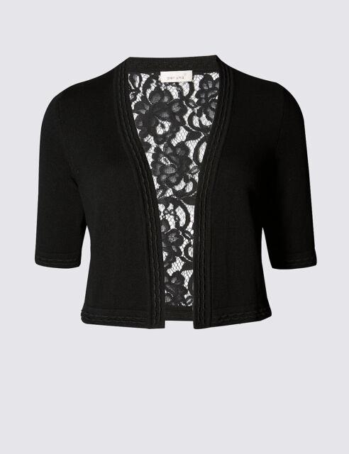 New M&S Per Una Black Floral Lace Back Cardigan Sz UK 10 12 16 18 24