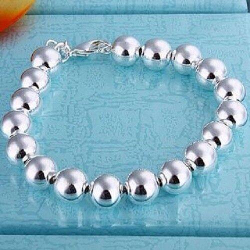 ASAMO Damen Armband mit Kugeln 925 Sterling Silber plattiert Schmuck Herz