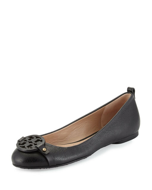 NIB Tory Burch Mini Miller Logo Flats Shoes Pebbled leather  BLACK 7 M