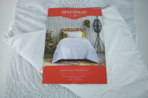XL Twin Light Gray Solid Heather Ruched Jersey Comforter Set Opalhouse Twin