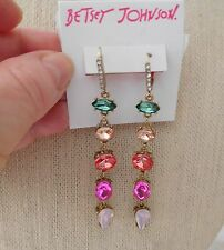 NWT Betsey Johnson Marie Antoinette Mixed Faceted Stone Linear Drop Earrings