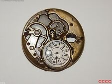 steampunk brooch badge bronze clock watch Alice in wonderland Harry Potter