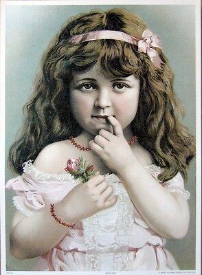 art print~PRINCESS~Victorian little girl in pink w// rosebud child vtg repr 10x14