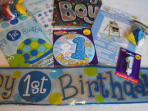 Image Is Loading BOYS 1ST BIRTHDAY PARTY PACK 1st FIRST