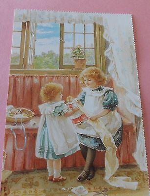 """Measuring for a New Dress"" Victorian Children Postcard"
