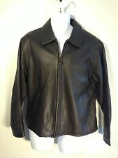 Eddie Bauer Premium Pebbled Brown Thick Leather Riding Moto Jacket Womens Sz L