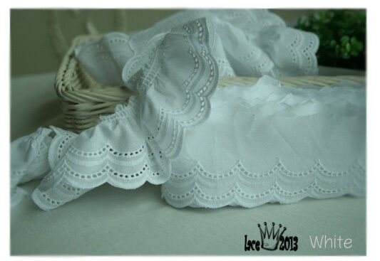 "4Yds Broderie Anglaise cotton eyelet lace trim 2.4"" white YH1423 laceking2013"