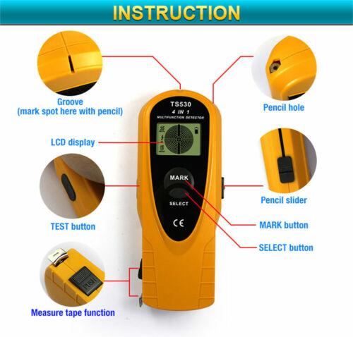 4 in 1 Wall Scanner Metal AC Wire Detector Stud Finder Tape Digital LCD Display