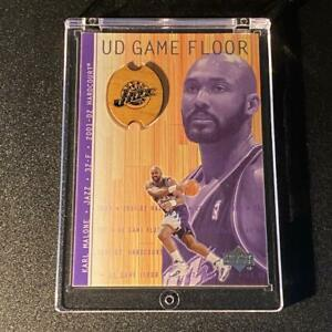 KARL-MALONE-2001-UPPER-DECK-KM-UD-GAME-FLOOR-MEMORABILIA-INSERT-CARD-JAZZ-NBA