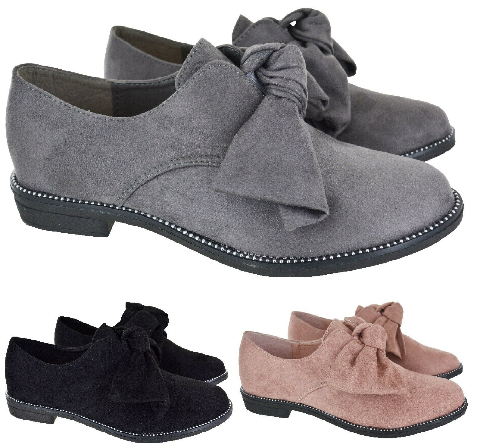LADIES Mujer FLAT BOW STUD DOLLY LOAFER WORK OFFICE 3-8 SCHOOL PUMPS zapatos Talla 3-8 OFFICE cd7013