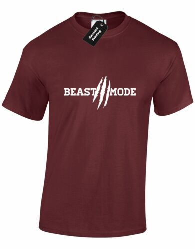 Beast Mode Mens T Shirt  Fitness Keep Fit Hard Core Gym  Casual Training Top