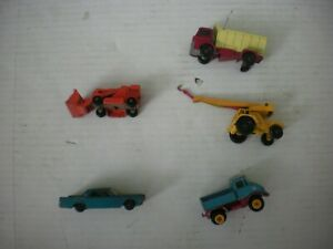 Vintage-Lot-of-5-Matchbox-by-Lesney-Trucks-amp-Car