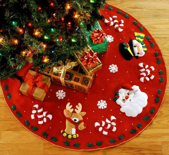 bucilla santa friends felt christmas tree skirt kit sterilized - Cheap Christmas Tree Skirts