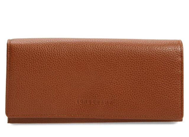 Longchamp Le Foulonne Leather CONTINENTAL Flap Wallet Cognac Brown Authentc