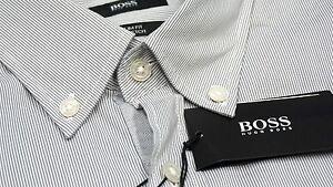 NWT-155-Hugo-Boss-Slim-Fit-Stretch-Grey-Shirt-Mens-M-L-XL-2XL-Short-Sleeve-NEW