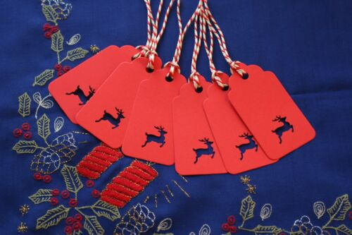 PRICE LABELS WITH TWINE NAME CARDS 20 STAG REINDEER CHRISTMAS TAGS