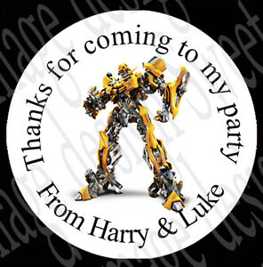 Bumblebee inspired Personalised stickers party bags sweet cone Labels