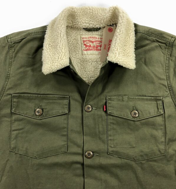 Levis Mens Sherpa Military Shirt Jacket Olive Night