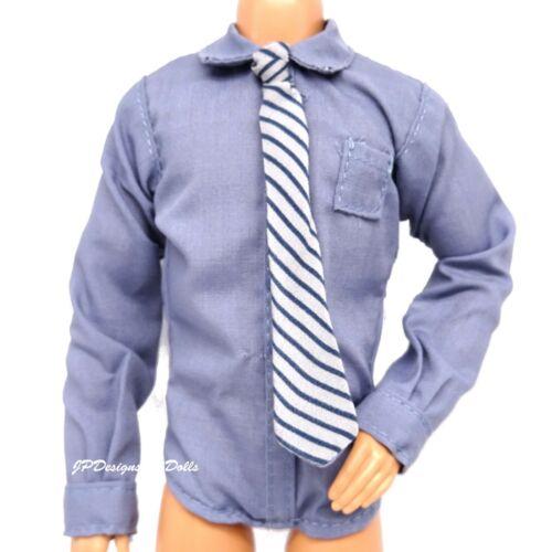 Barbie ken fashion Chemise Bleue Et Cravate Agent Fox Mulder X FILES NEUF