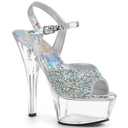 Clear Silver Rhinestones Crystals Platform Mens Drag Queen Pageant Heels 13 14