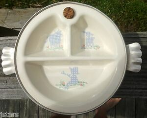 Vintage Divided Baby Food Dish In Warmer Little Boy Blue Excello Feeding Cups, Dishes & Utensils