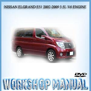 nissan elgrand e51 2002 2009 3 5l v6 engine repair service manual in rh ebay com au nissan elgrand owners manual english nissan elgrand owners manual english