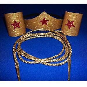Wonder Woman Costume Choose number pcs /& Size Tiara Cuffs Lasso Super Hero